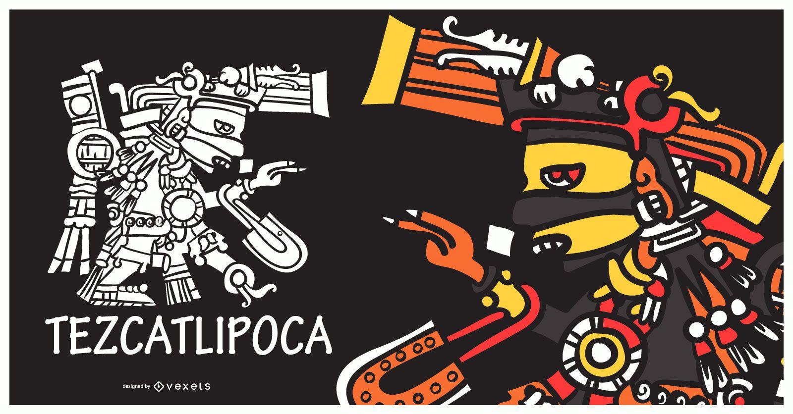 Ilustración de dios azteca tezcatlipoca