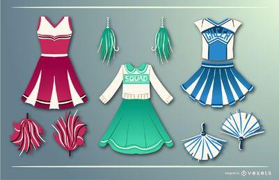 Conjunto de vetores de vestido de líder de torcida
