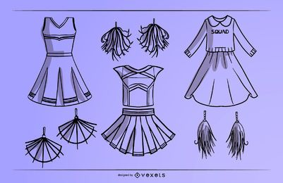 Cheerleader dress stroke set
