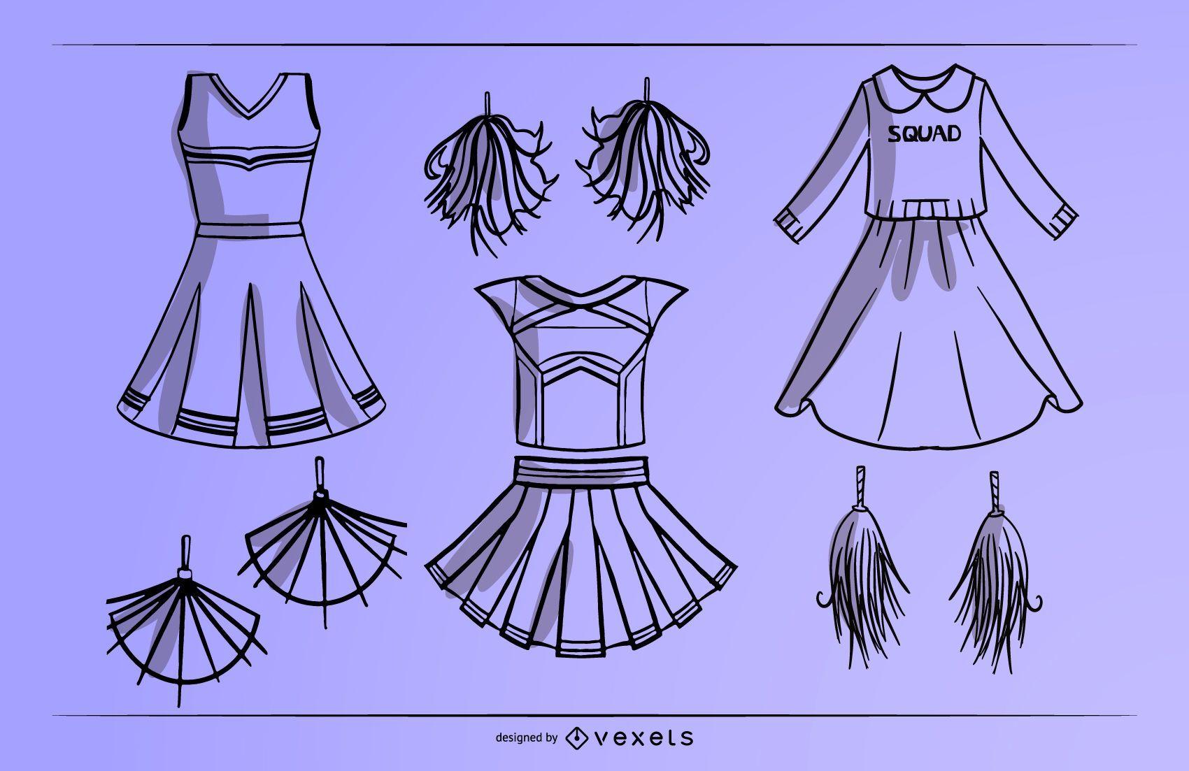 Cheerleader dress stroke set