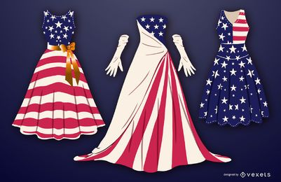 Estados Unidos vestidos vector set