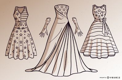Conjunto de vestidos dos EUA com traços