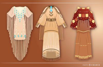 Conjunto de vestidos de nativos americanos