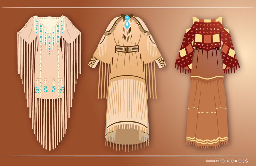 Native american dresses set
