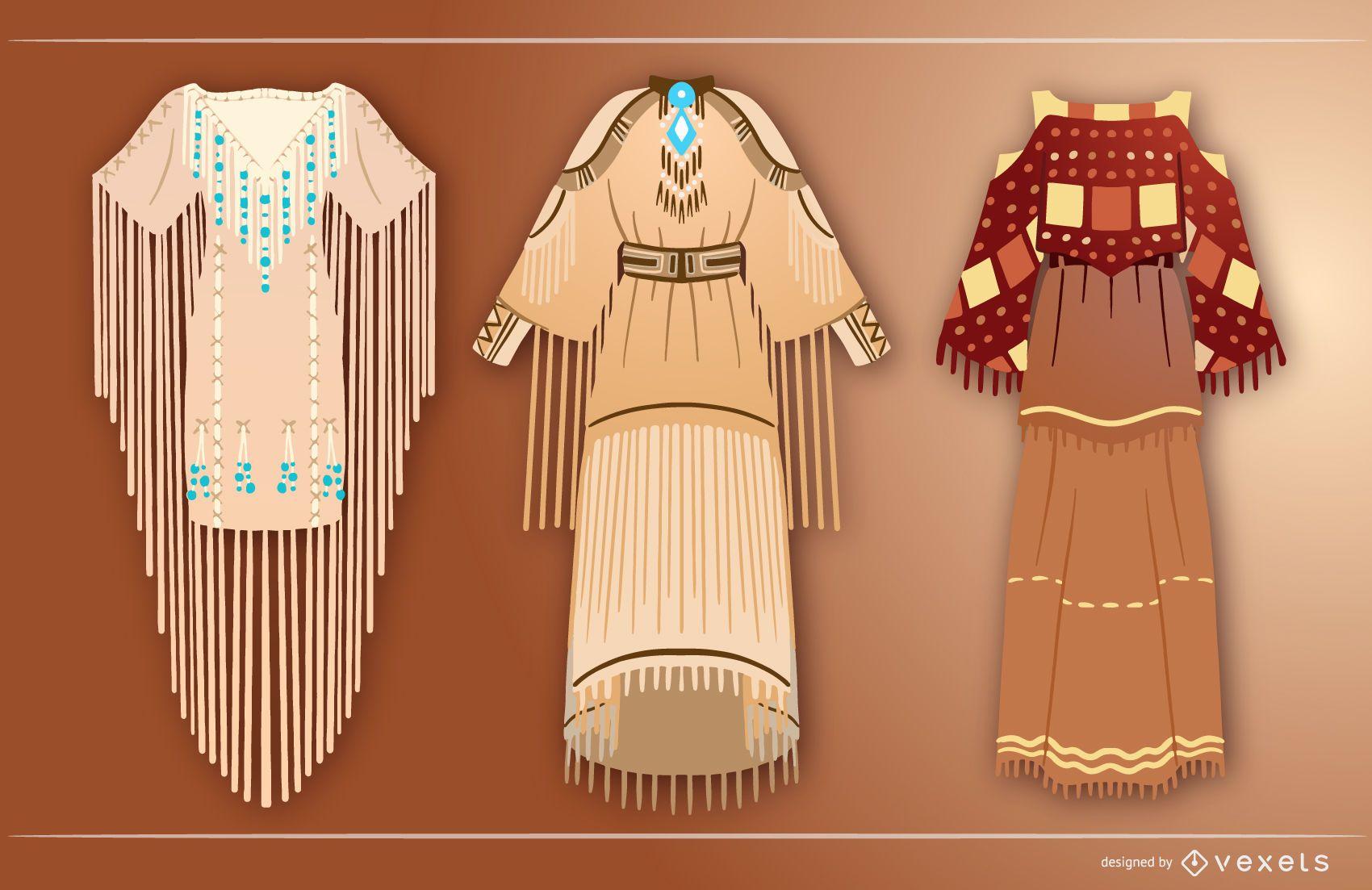 Native american dresses set