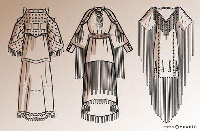 Conjunto de traço de vestidos de nativos americanos