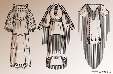 Native american dresses stroke set
