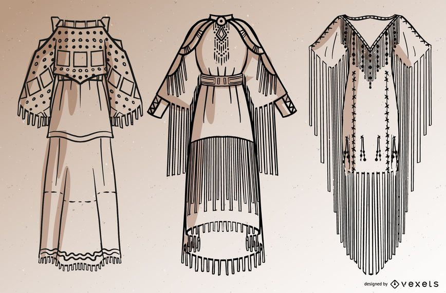 Conjunto de trazos de vestidos de nativos americanos