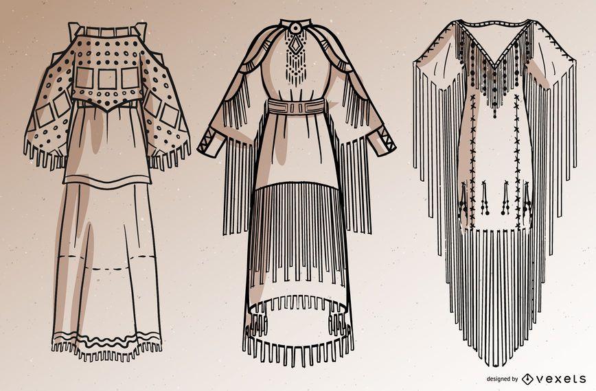 Native american dresses stroke set