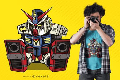 Schläfriges Mecha-Roboter-T-Shirt-Design