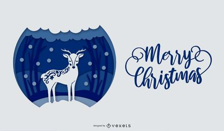 Merry christmas papercut illustration