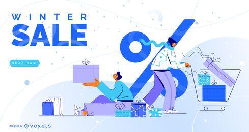 Diseño de ilustración de venta de invierno