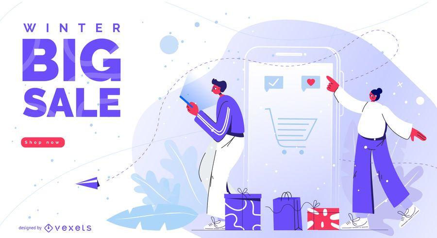 Diseño editable de gran venta de invierno