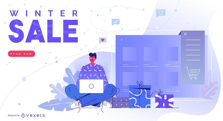 Design editável de promoção de inverno