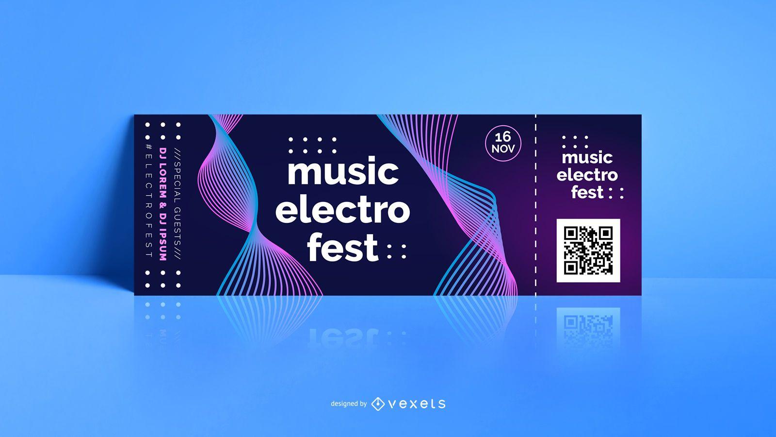 Boleto editable de música electrónica
