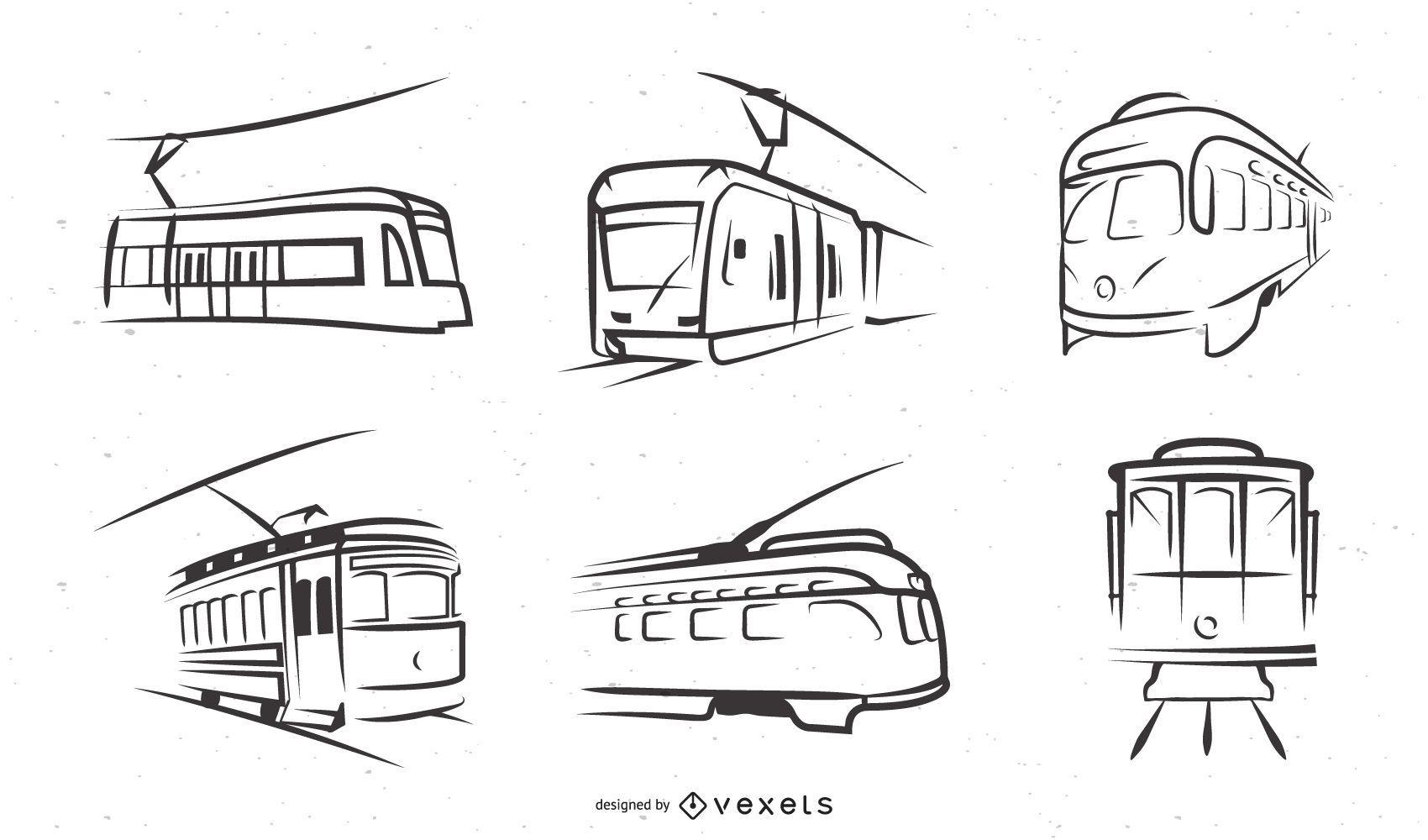 Trolley Car Line Art Illustration Set
