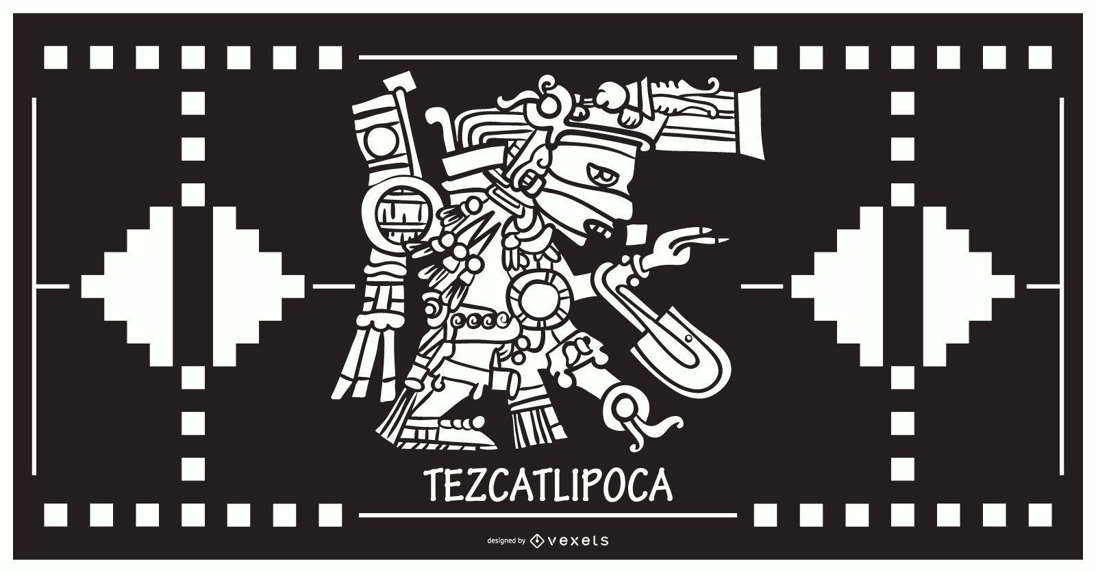 Diseño de dios azteca Tezcatlipoca