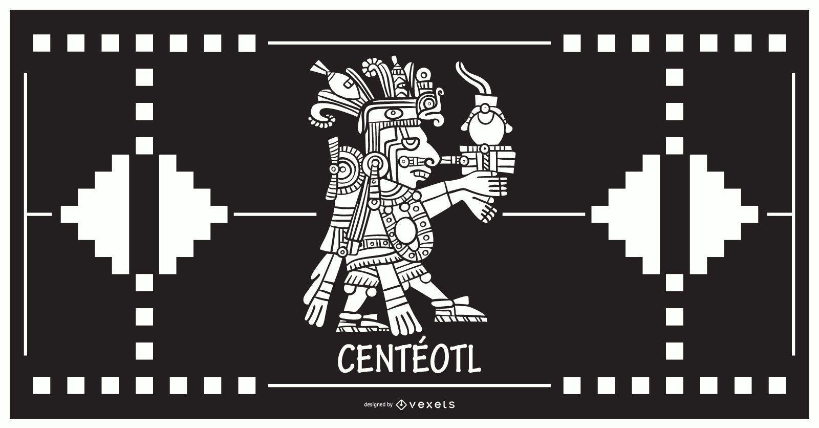 Diseño de dios azteca Centeotl