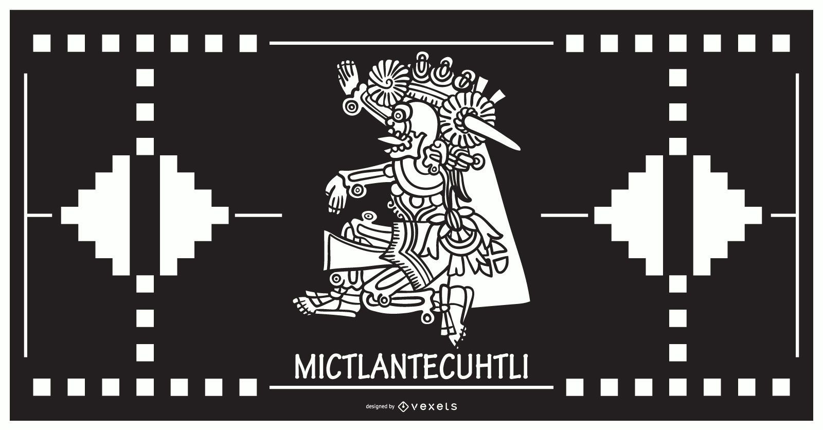 Diseño de dios azteca mictlantecuhtli