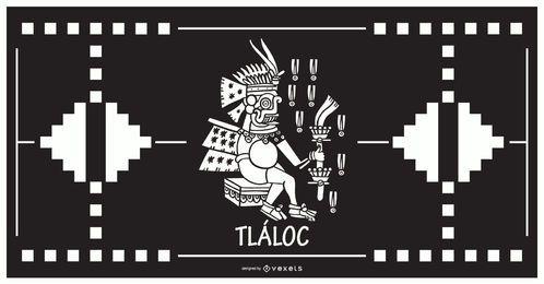 Tlaloc aztekischer Gottentwurf