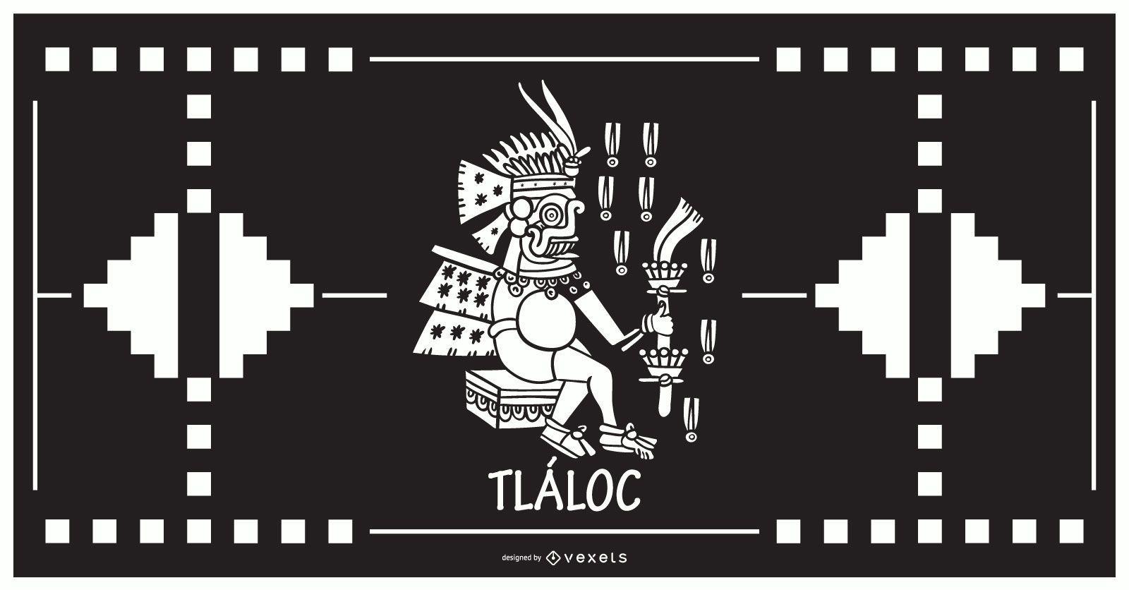 Tlaloc aztec god design