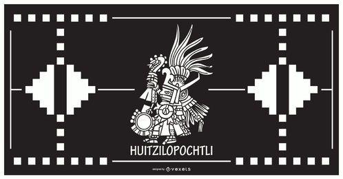 Diseño del dios azteca Huitzilopochtli
