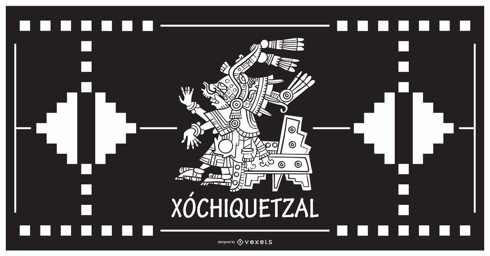 Diseño del dios azteca xochiquetzal