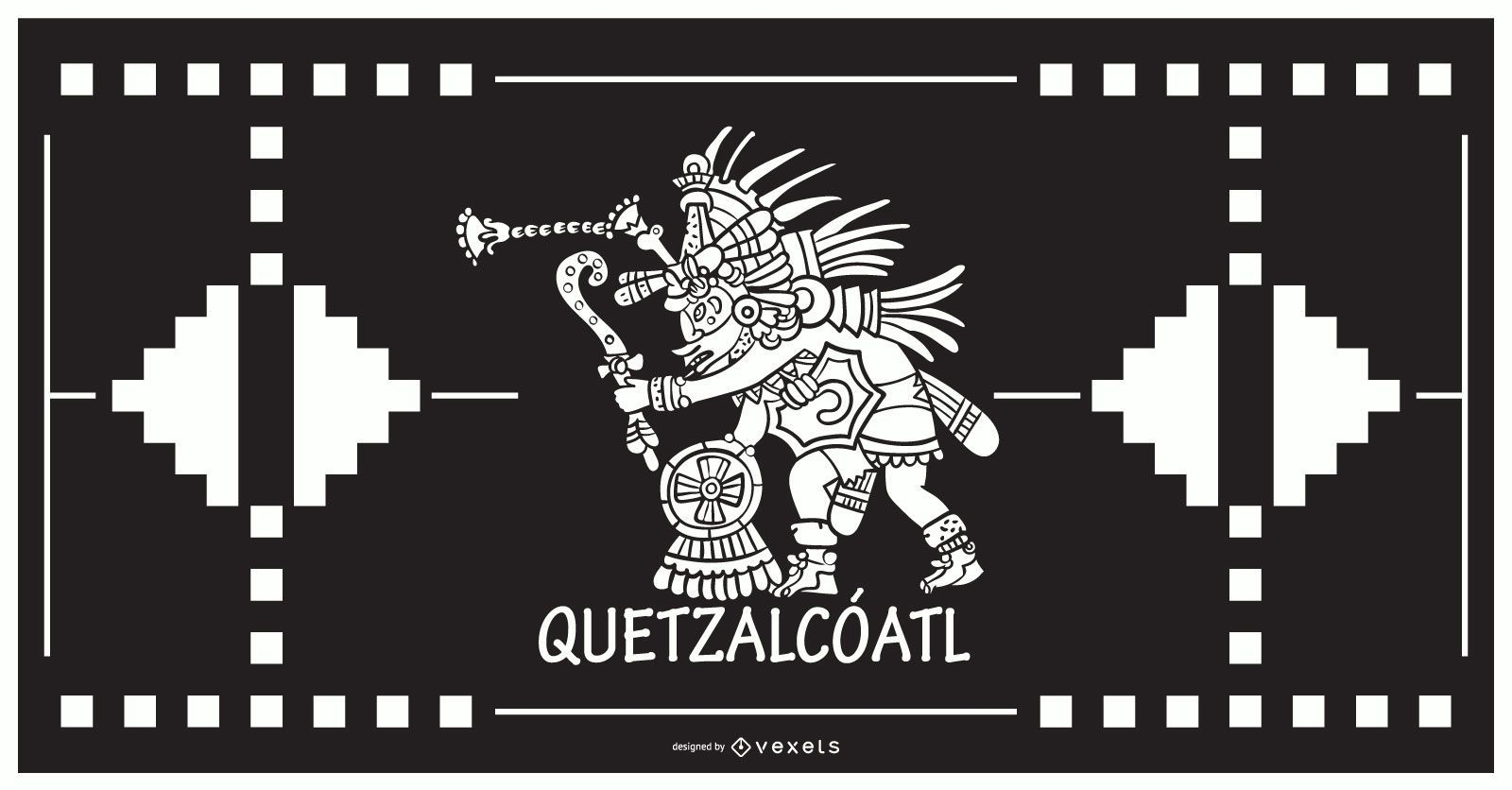Quetzalcoatl aztec god design