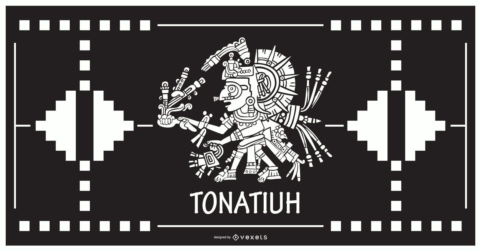 Diseño de dios azteca tonatiuh