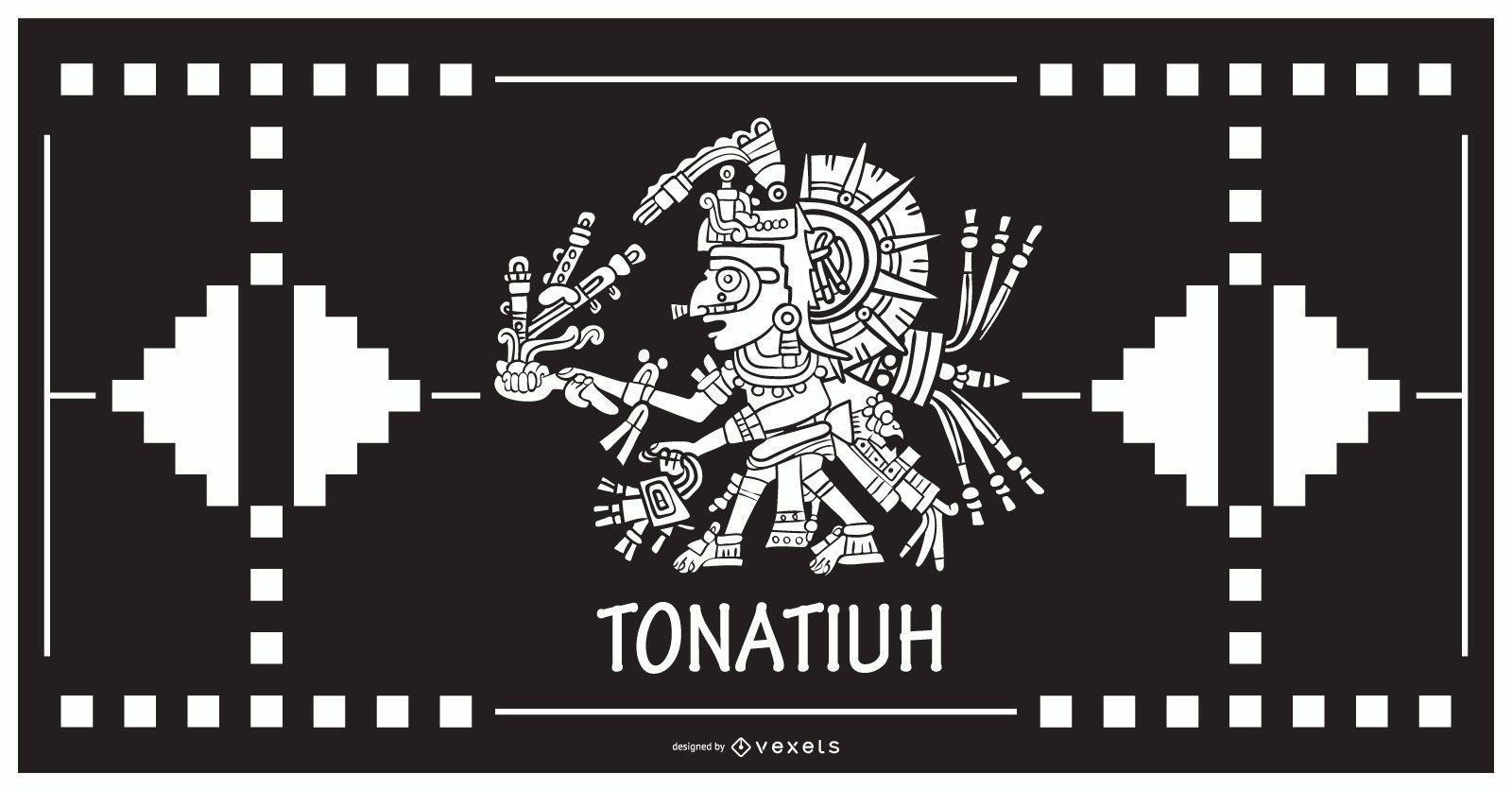 Tonatiuh aztec god design