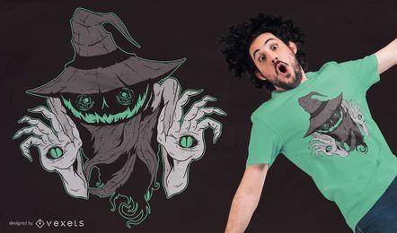 Projeto assustador do t-shirt da abóbora