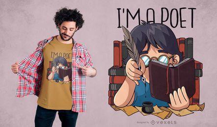 Diseño de camiseta de cita de poeta