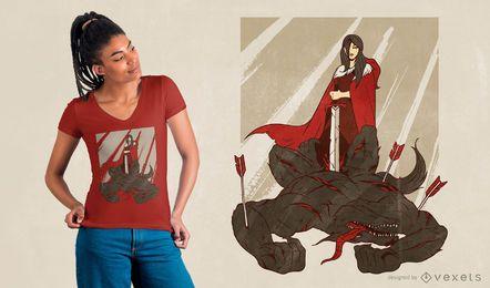 Design de t-shirt de lobo de capuz vermelho