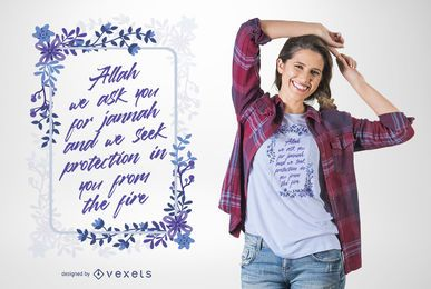 Projeto de t-shirt de citação de Allah