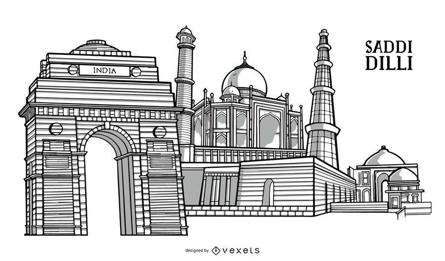 Projeto do marco da construção da cidade de Delhi