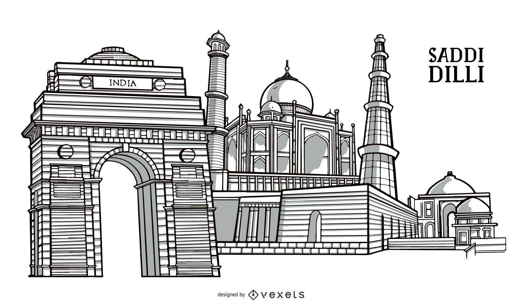 Diseño emblemático del edificio de la ciudad de Delhi