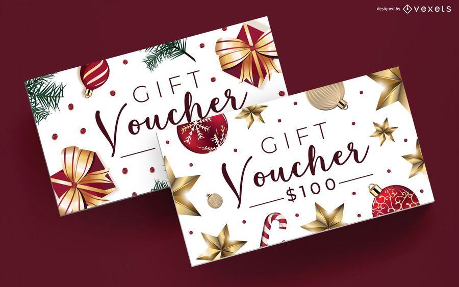 Plantilla editable de vales de regalo de Navidad