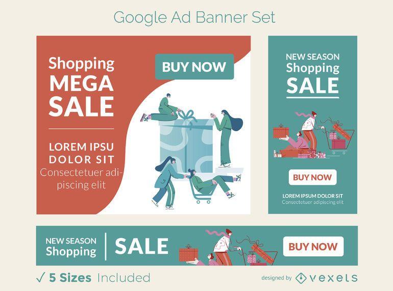 Conjunto de banner de anuncio de venta de compras
