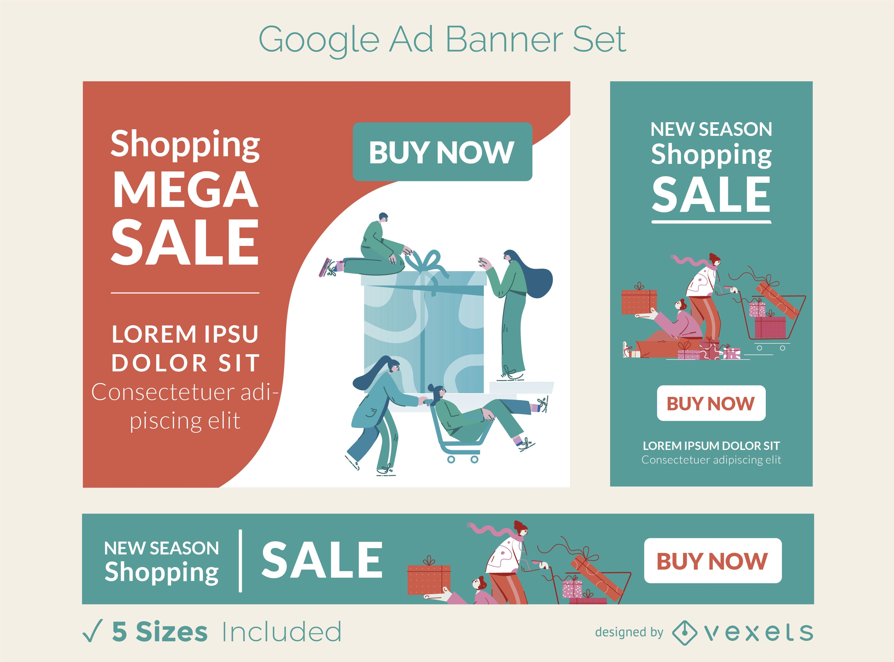 Shopping sale ad banner set