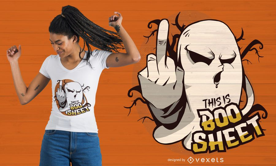 Diseño de camiseta Ghost Flipping Off Quote