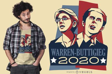Diseño de camiseta Warren Buttigieg Debate 2020