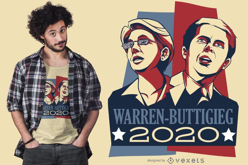 Warren Buttigieg Debate 2020 Design de camiseta