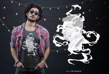 Design de t-shirt de rosto de fumaça