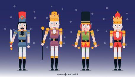 Paquete de ilustración de personaje de diseño plano de cascanueces