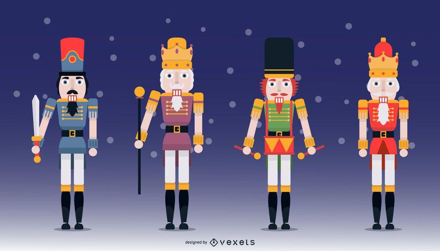 Nussknacker-flaches Design-Charakter-Illustrations-Satz