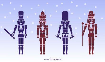 Conjunto de silhueta de caracteres de quebra-nozes