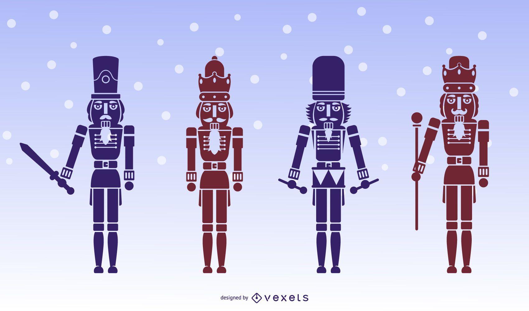 Conjunto de silhueta de personagens para quebra-nozes
