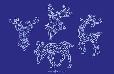 Conjunto decorativo de desenho de traço de rena