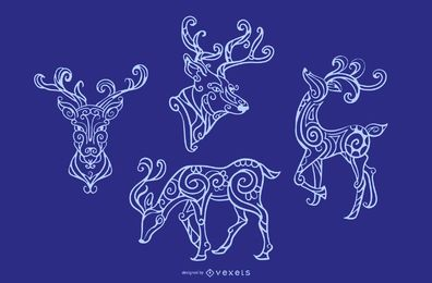 Ornamental Reindeer Stroke Design set