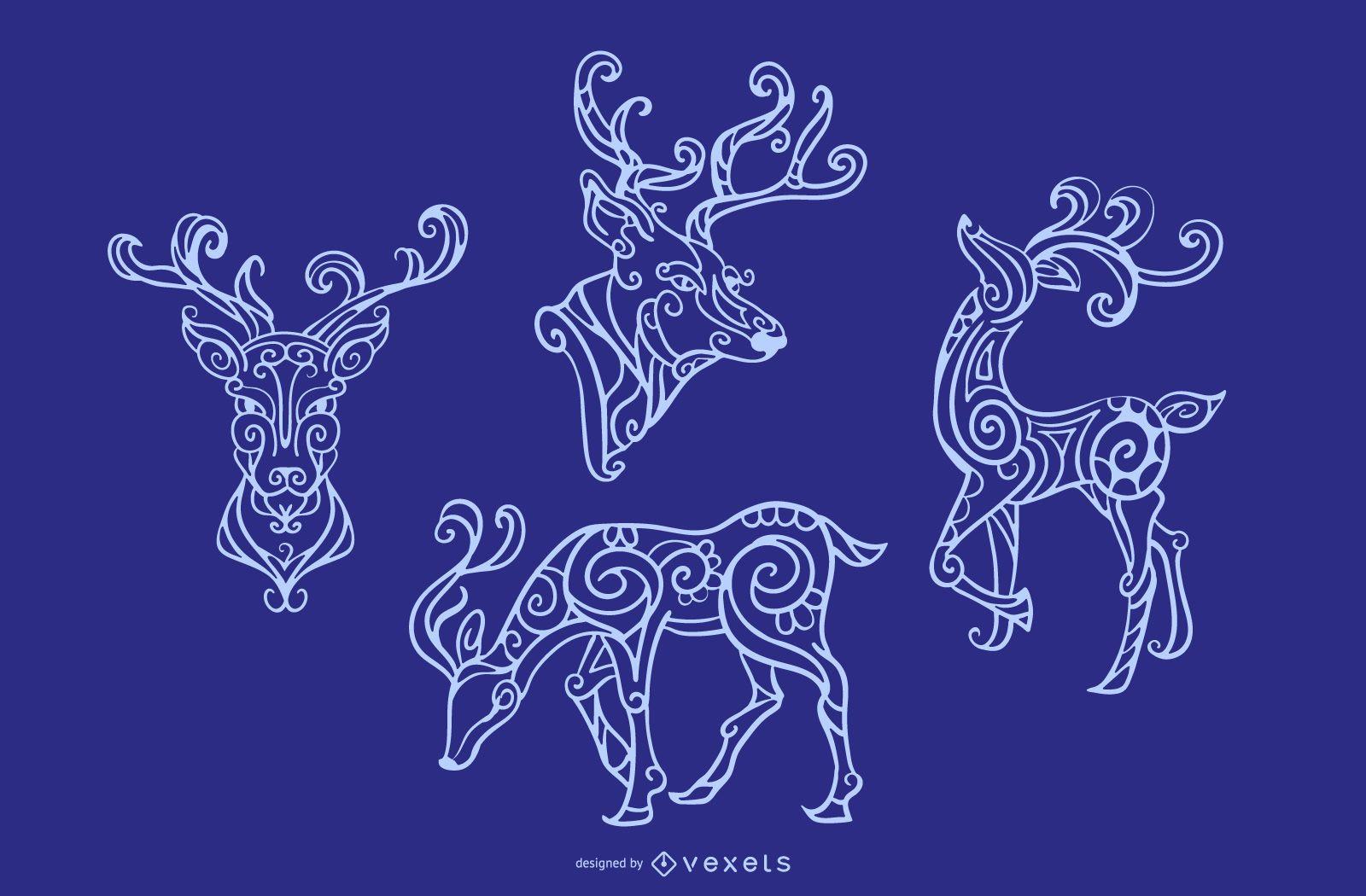 Ornamental Reindeer Stroke Design set